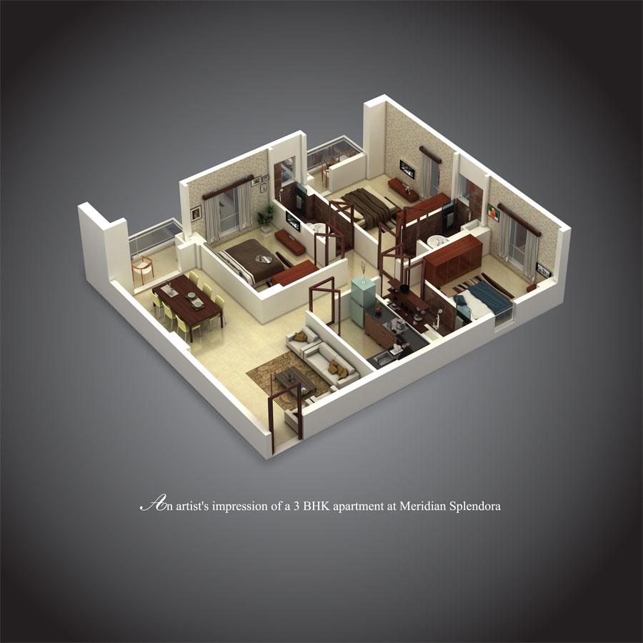 3D-image---3-BHK